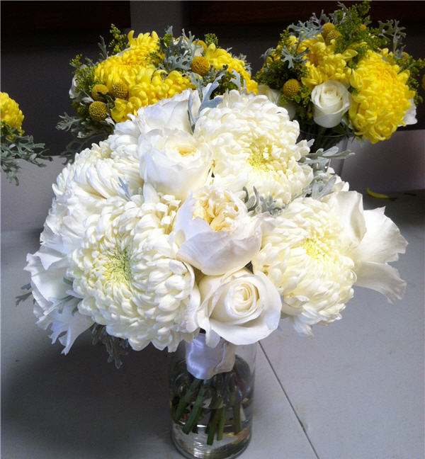 Olympic flowers yellow wedding flowers florist movies work aprons gray white yellow bouquets mightylinksfo