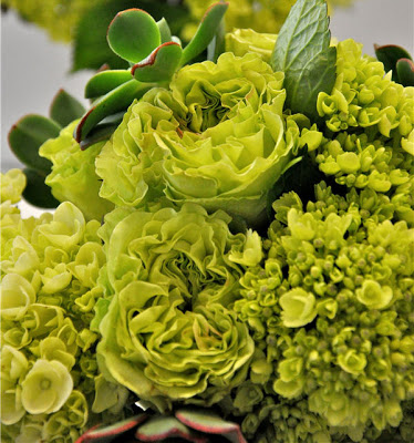Green roses, hydrangea and succulent blooms offer a unique design to a bridal bouquet.