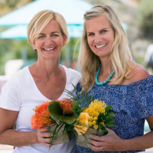 Casey and Kit of Flower Duet with their floral designs at Terranea Resort for #cabanaboss in May of 2017.