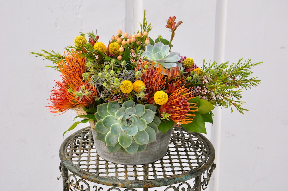 Succulent centerpiece earth day flowers