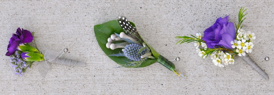 Alternative Boutonnieres in purple and grey by Flower Duet.