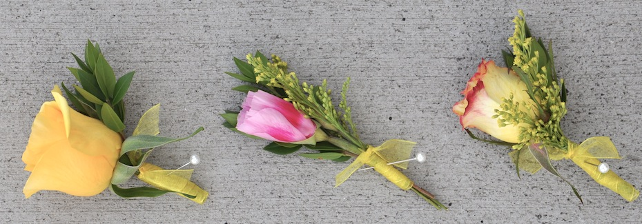 Pink and Yellow Boutonnières by Flower Duet