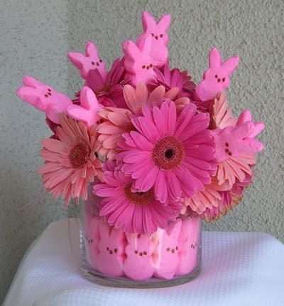 Easter Peeps Bunny Flowers with Pink Gerbers
