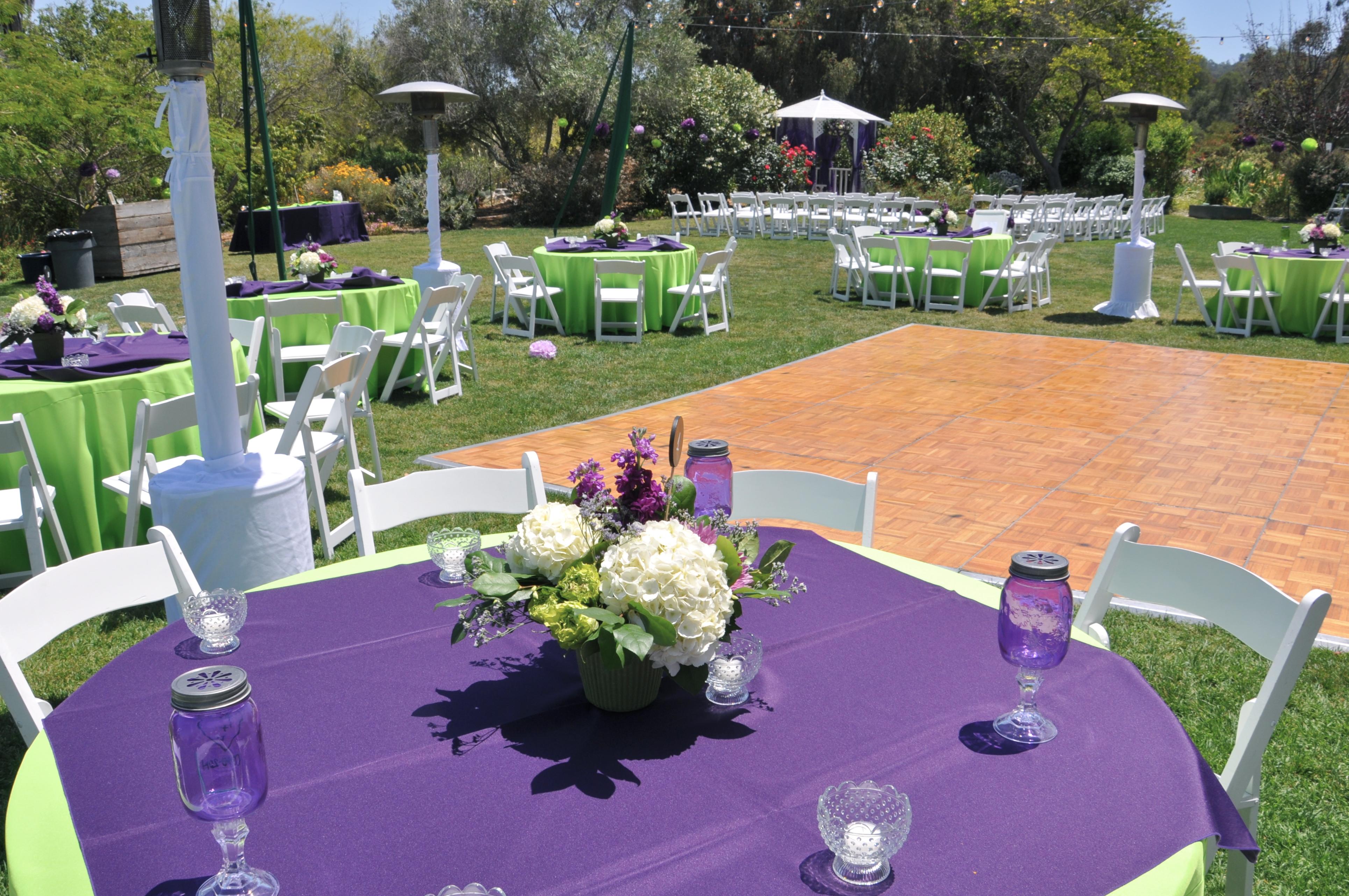 Beau Purple Centerpiece Garden Wedding Flowerduet. Lower Medow Setup At South  Coast Botanic ...