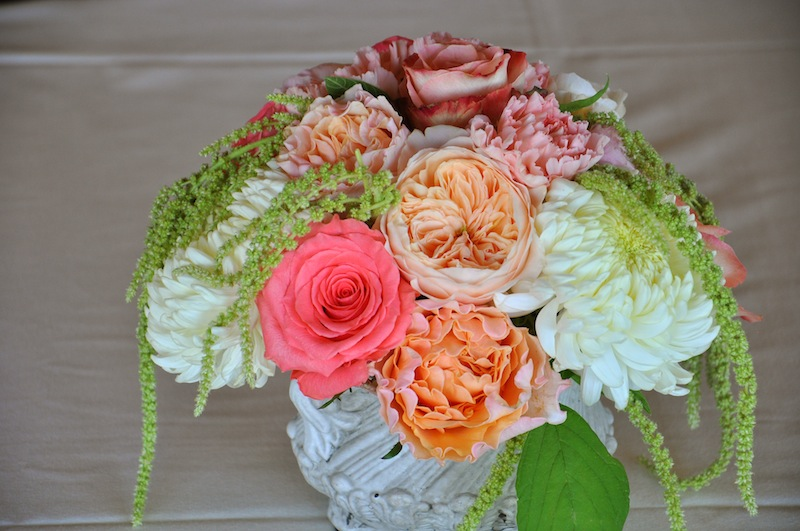 Coral and Peach Wedding Centerpiece