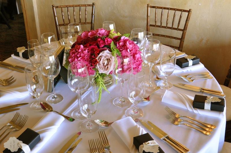 Pink summer hydrangea centerpiece — flowerduet