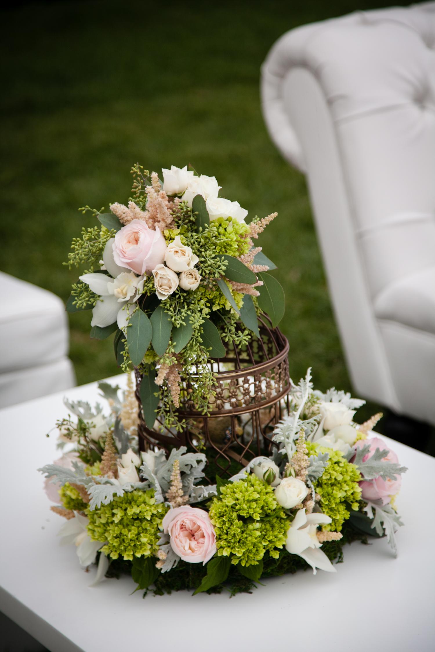 Summer garden birdcage centerpiece flowerduet