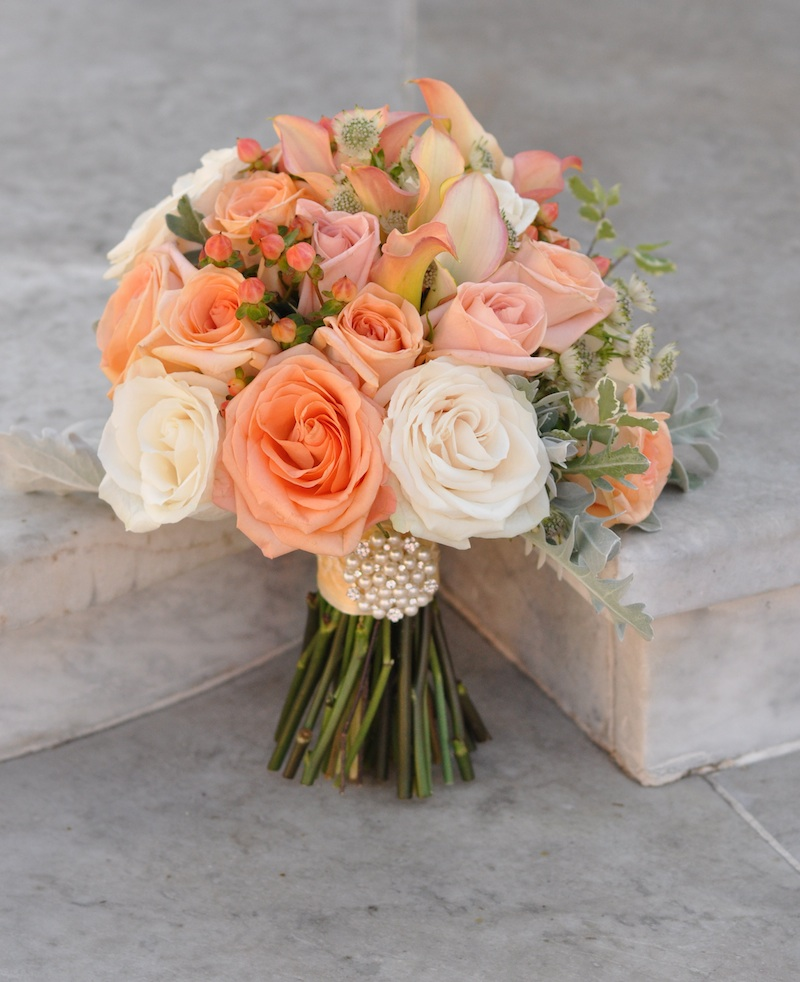 Peach bridal bouquet flowerduet peach coral bouquet junglespirit Images