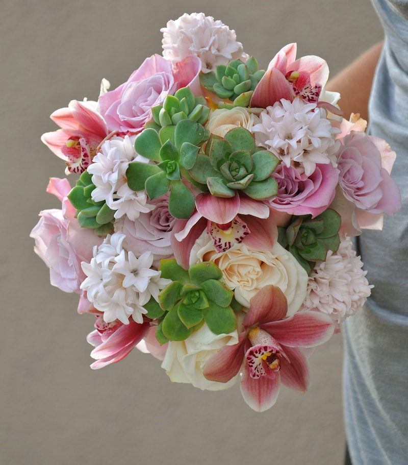 Succulent and Hyacinth Bouquet