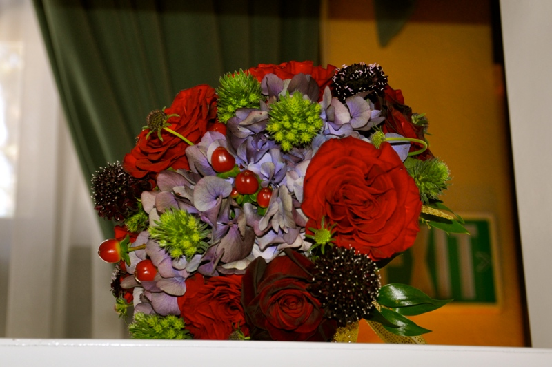 Purple and Red bridal bouquet