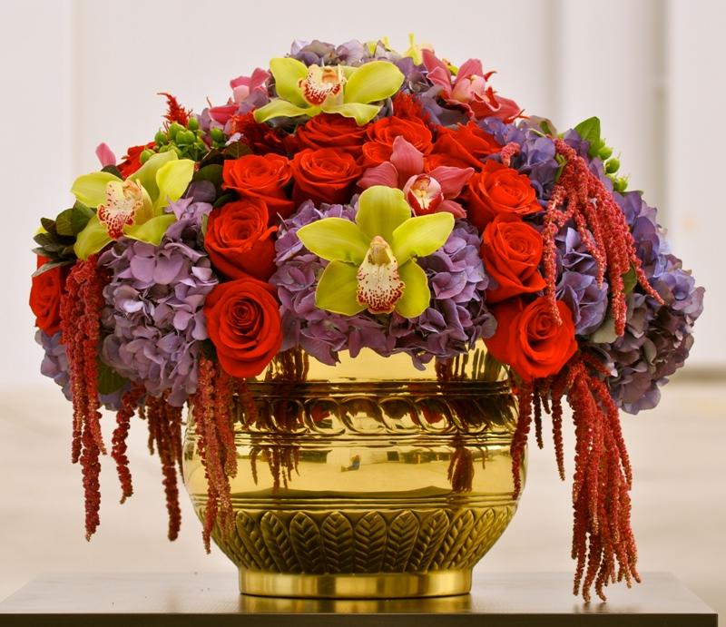 French Circus Flowers Terranea Beach Wedding Rose