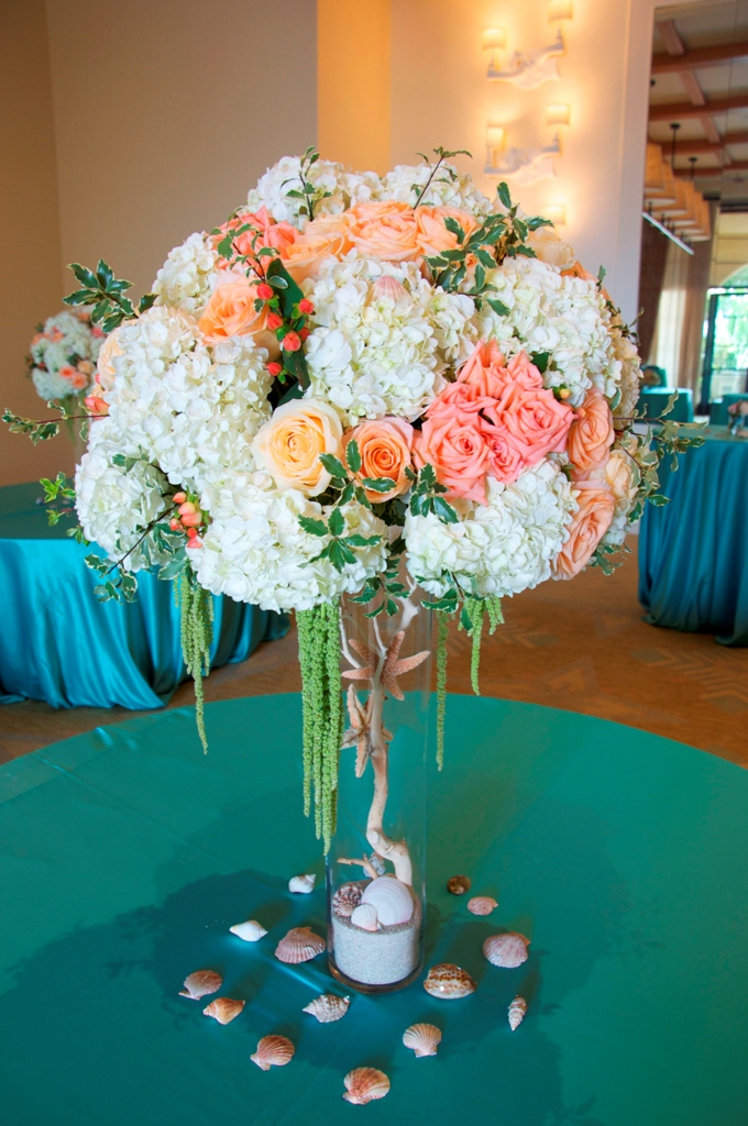 Flowerduet Terranea Beach Wedding Centerpiece Tall