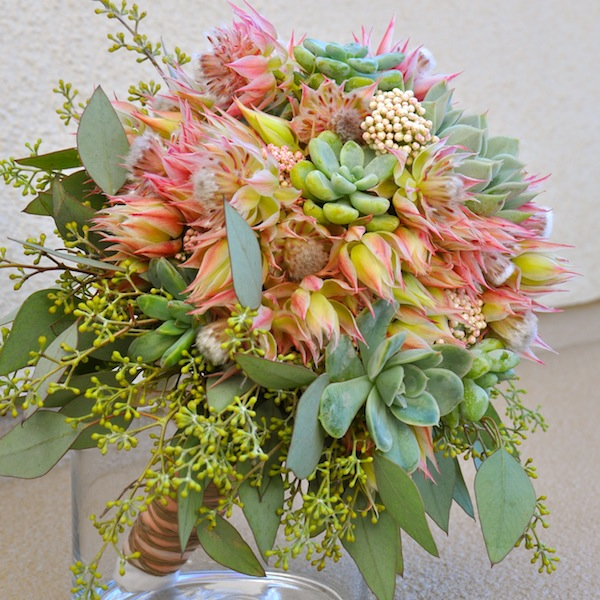 flowerduet.com-blushing-bride-protea-succulent-wedding-bouquet