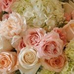 Sage green and pink wedding flowers