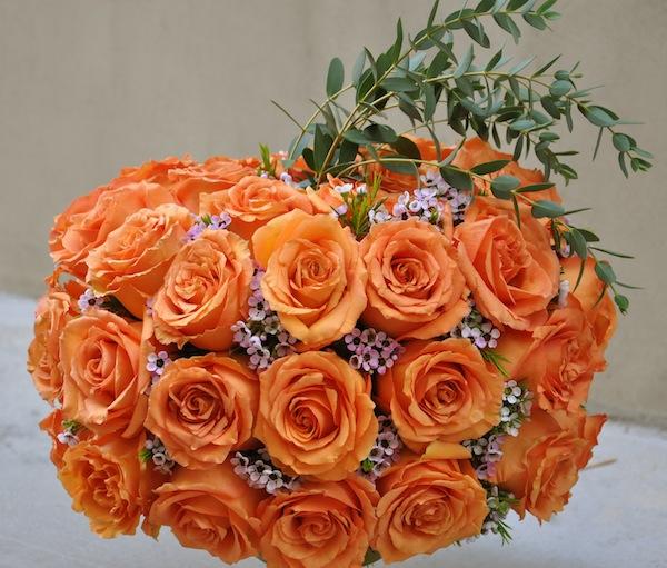 Flower Duet's Thanksgiving Centerpiece Using Roses in a Pumpkin Shape