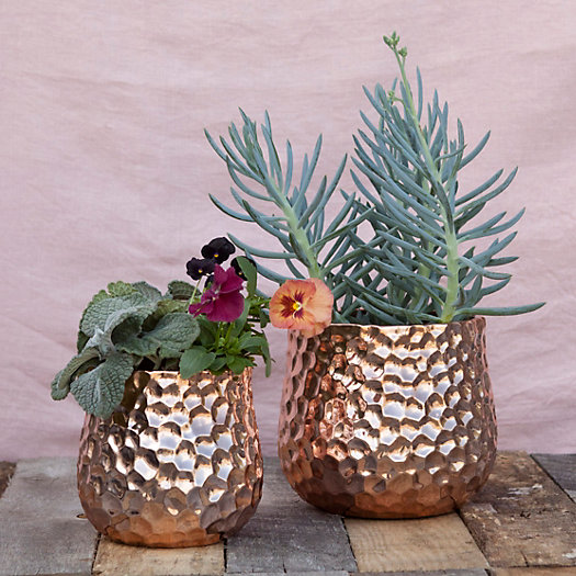 Gift Idea for Flower Lovers: Hammered copper pots