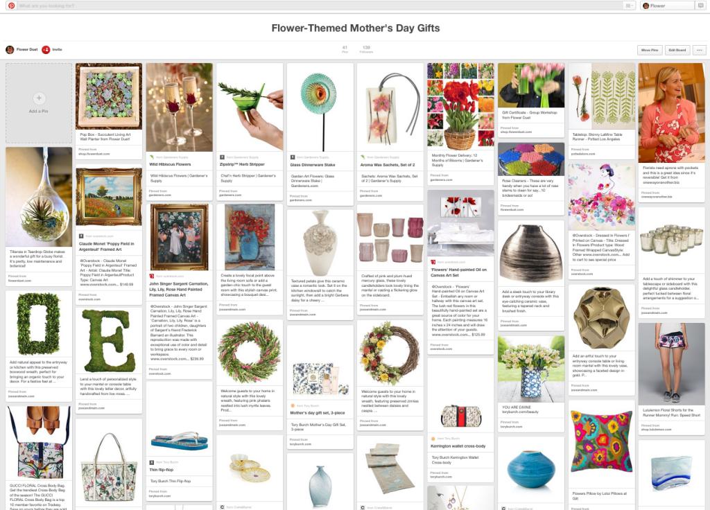 Flower Duet Pinterest Board for Mother's Day 2015