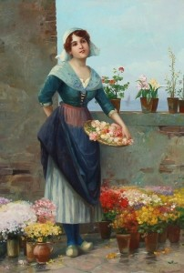 Suss Painting - Woman Selling Flowers