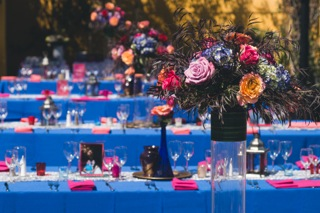 Colorful Blue, Orange and Rust Indian Wedding in Malibu. Flowers by Flower Duet. Photo byCloak Photography.