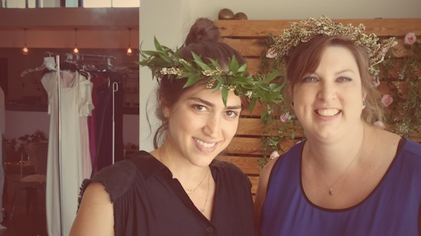 Floral CRowns modeled by the dress designer and photographer.