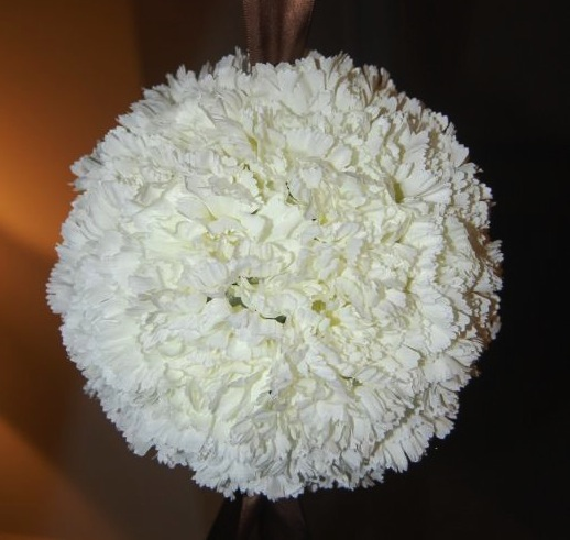 White snowball carnation pomander.