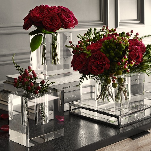Crystal block vases by Williams Sonoma.