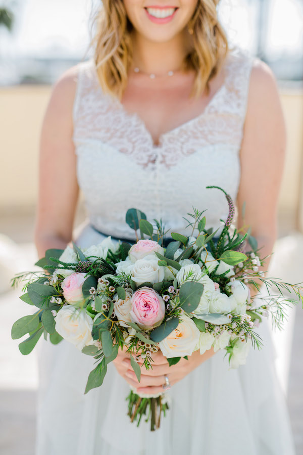 Pink garden wedding bouquet