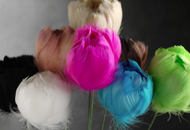Chalice-shaped feather blossoms from Save-On-Crafts.