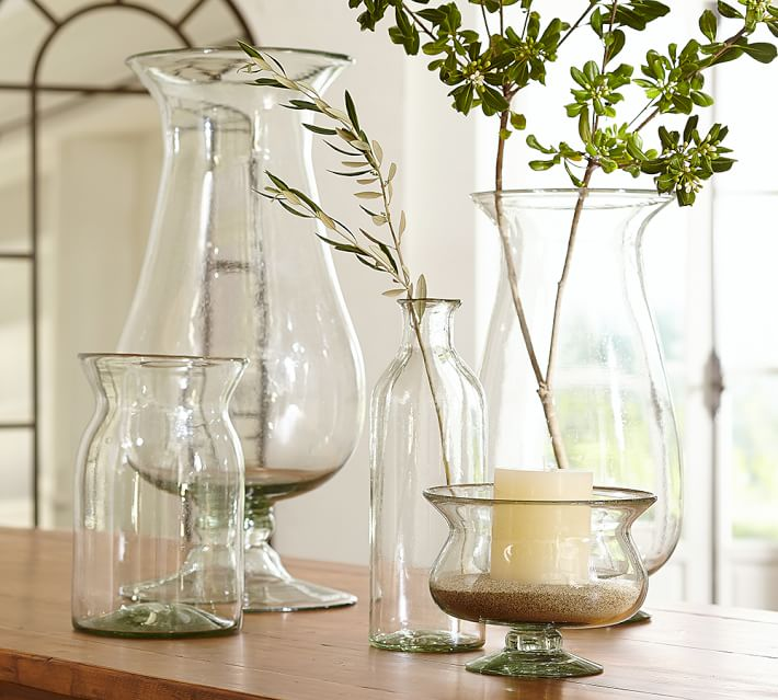 Recycled Glass Vases with gathered openings
