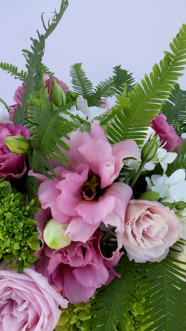 Pink flowers with Greenery Color of the Year by Flower Duet