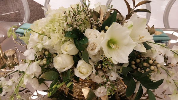 White flowers with greenery continue to be a popular combination for weddings and events.