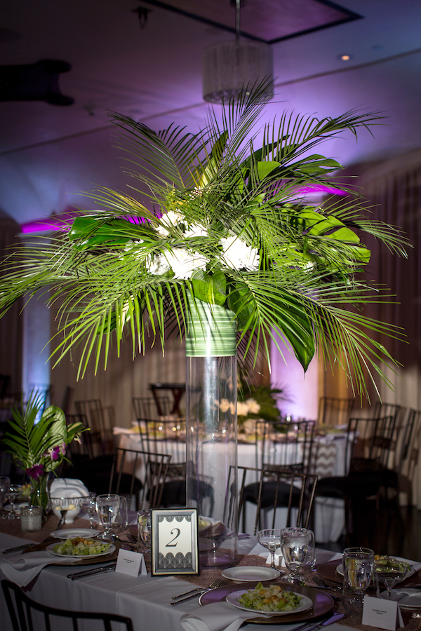 Tropical tall Centerpiece. All photos by The Holding Company. All flowers by Flower Duet.