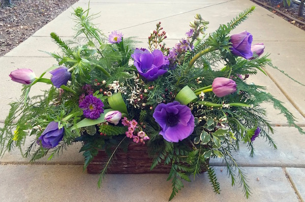 Purple Anemones Valentine's Day design Flowers by Flower Duet. Photo by Kit Wertz.