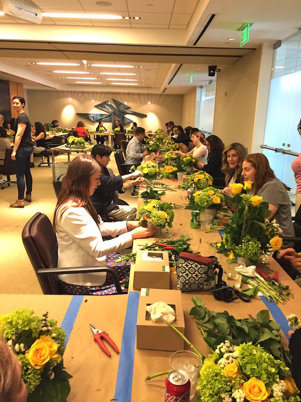 Corporate team building through flowers with Flower Duet.