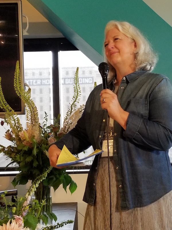 Debra Prinzing welcomes attendees for the Slow Flowers Summit