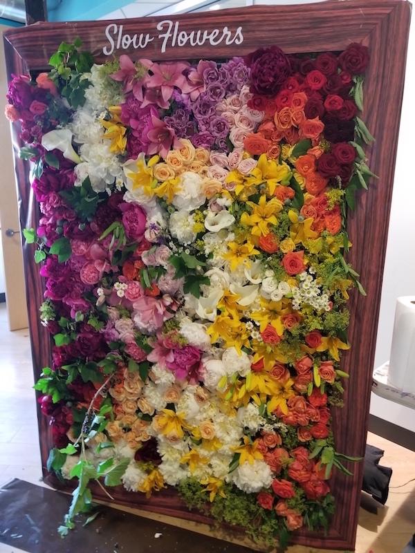 Lola+Creative flower wall at the #slowflowerssummit