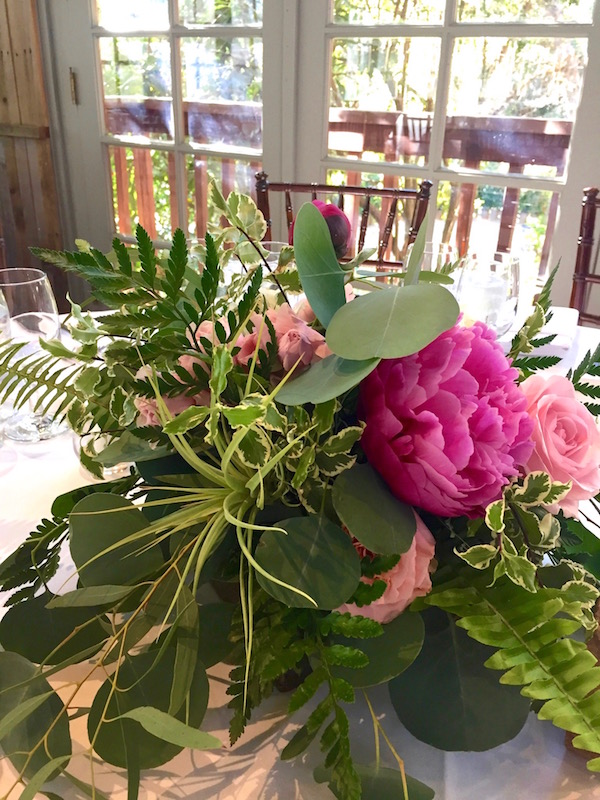 Flower Duet peony centerpiece with air plants