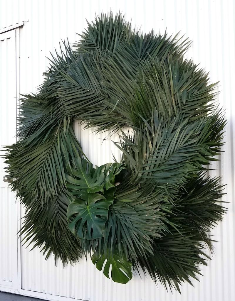 Flower Duet Palm Frond Wreath