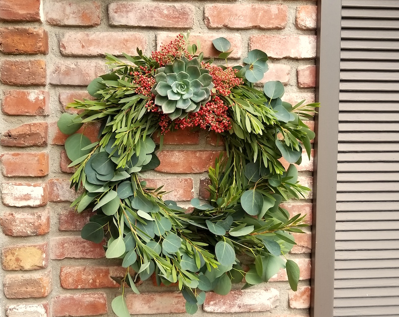 Flower Duet Fall wreath with Succulents and Pepper Berries