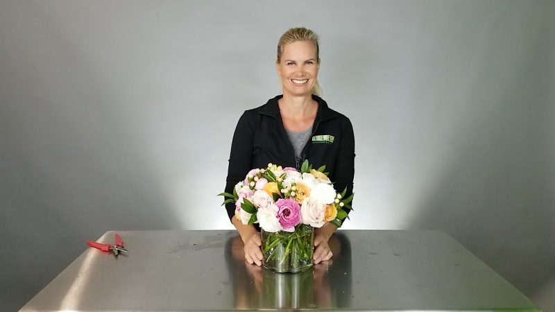 Kit Wertz from Flower Duet in an Online Class Snapshot with flowers