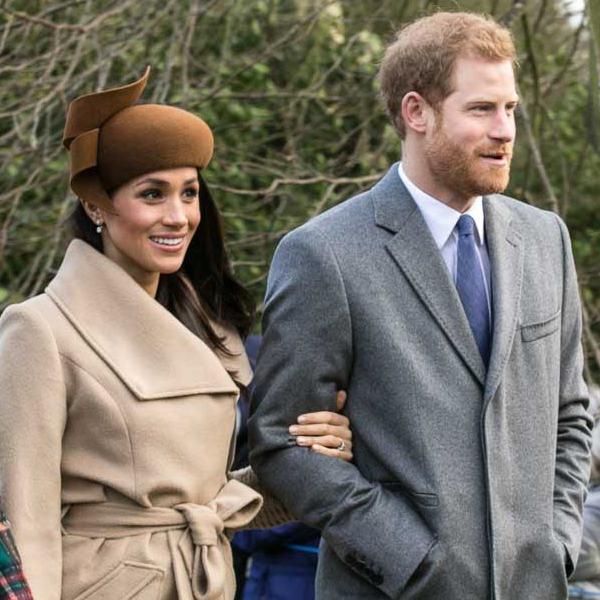 Prince Harry and Meghan Markle going to church at Sandringham on Christmas Day 2017.