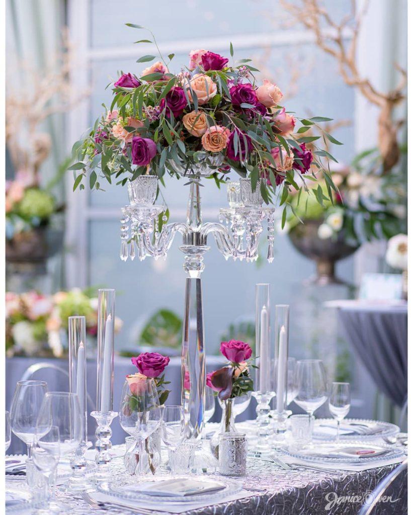 Purple and Peach Flowers Wedding