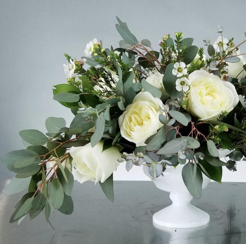 White and Green Wedding Centerpiece