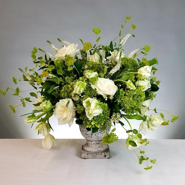 White and Green Wedding Ceremony Arrangement by Flower Duet