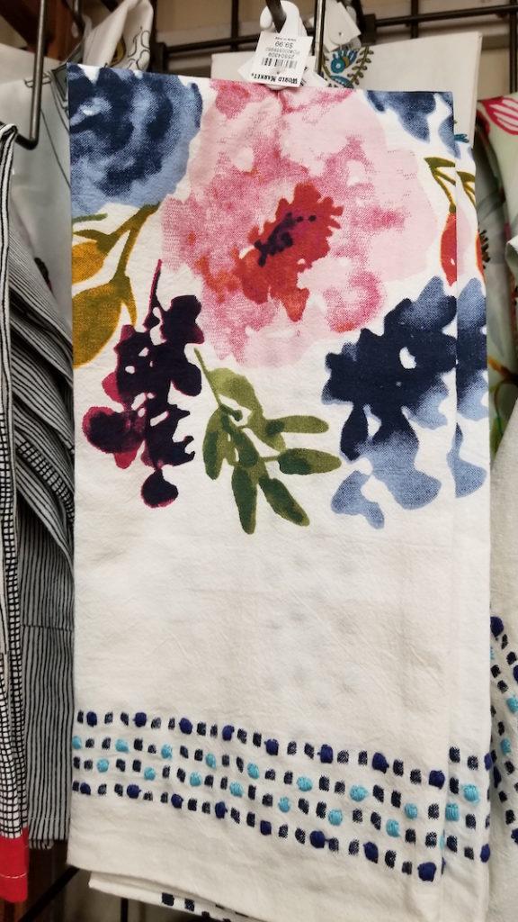 Floral tea towel at Cost Plus World Market - Photo by Kit Wertz.