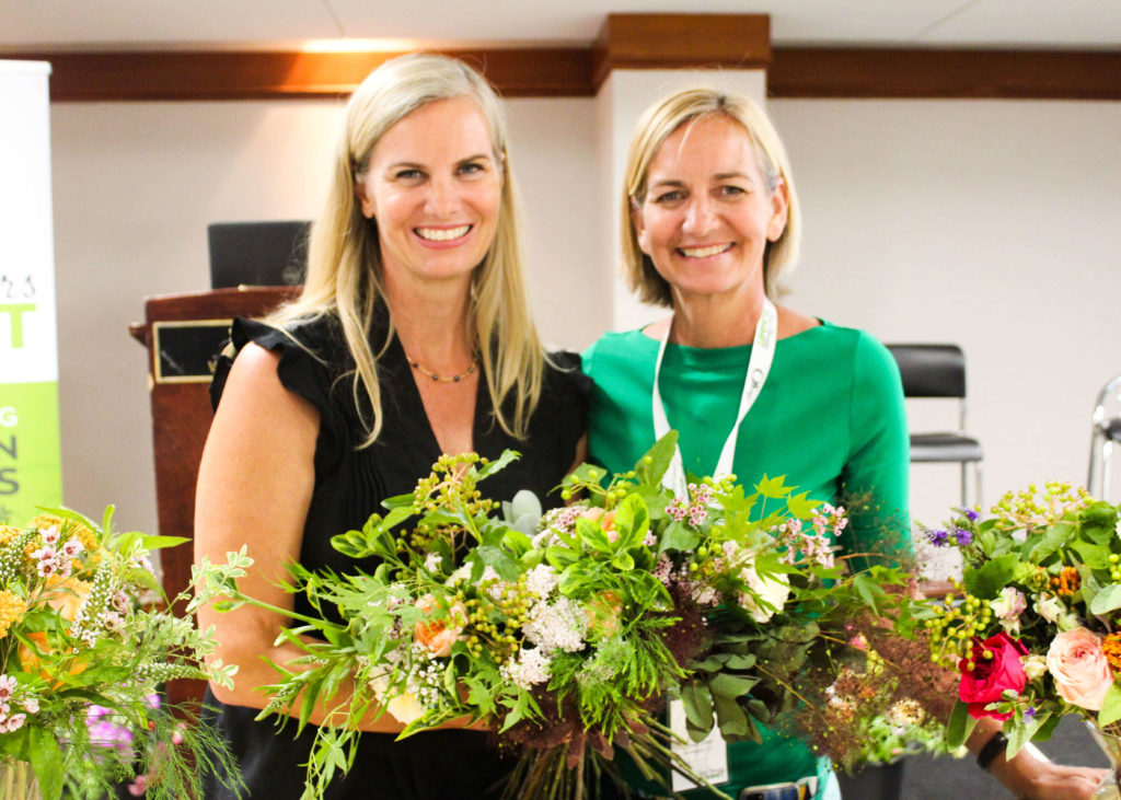 Sisters Kit (left) and Casey (right) of Flower Duet after our demonstrations and presentation at the Slow Flowers Summit 2018.