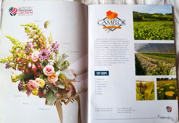 Camflor's 2-page spread in the American Grown Farm & Flower Guide 2018-2019