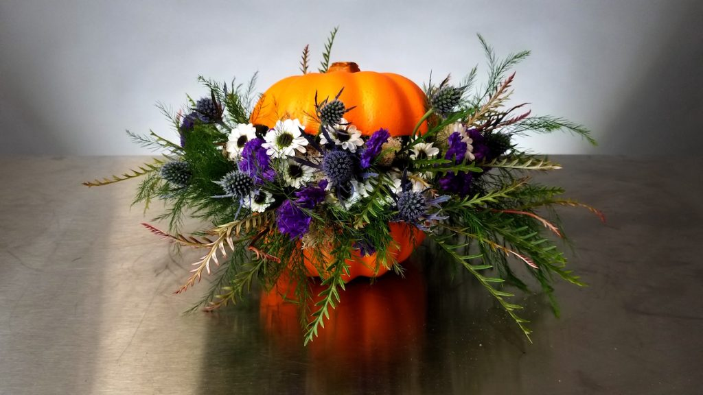 Floral Pumpkin by Flower Duet featuring white and purple flowers.