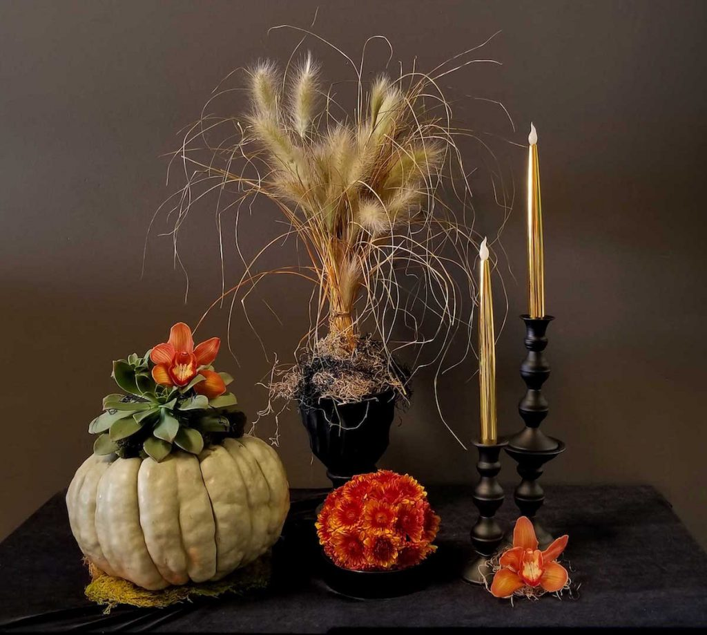 Halloween Floral Vignette for your party. Flowers by Flower Duet. Photo by Kit Wertz.