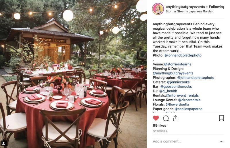 Fall Wedding Reception in a Japanese Garden